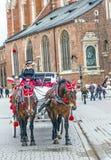 Horse-drawn carriage in Krakau Royalty Free Stock Photo