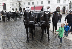 Horse drawn carriage Michaelerplatz Royalty Free Stock Photo