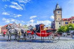 Horse-drawn carriage in Old Town Square in Prague, Czech Republi. C Stock Image