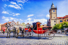 Horse-drawn carriage in Old Town Square in Prague, Czech Republi. C Stock Photography