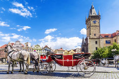 Horse-drawn carriage on the Old Town Square in Prague, the Czech. Republic Royalty Free Stock Images