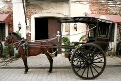 Horse drawn carriage old vigan philippines Royalty Free Stock Photos