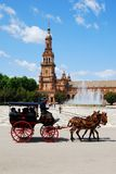 Horse drawn carriage, Plaza de Espana. Royalty Free Stock Photo