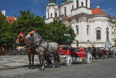 Horse-drawn carriage ready for tourists. (Prague, Czech Republic Royalty Free Stock Photos