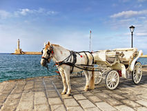 Horse Drawn Carriage Rides. In Chania, Crete island Stock Photos