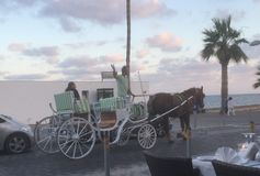 A horse drawn carriage on the sea front. Paphos sea front Stock Image