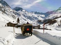 Horse drawn carriage in snow Stock Photos