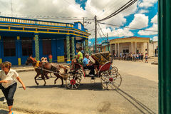 Horse drawn carriage on the square of Cuban town Royalty Free Stock Images