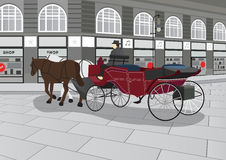 Horse Drawn Carriage on the Street Illustration Stock Photos