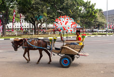 Horse drawn carriage in the streets of Jakarta Stock Image