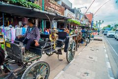 Horse drawn carriage in the streets of Jogjakarta Stock Image