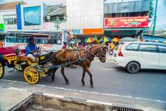 Horse drawn carriage in the streets of Jogjakarta Royalty Free Stock Photography