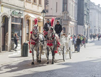 Horse-drawn carriage on the streets of Krakow Stock Photos