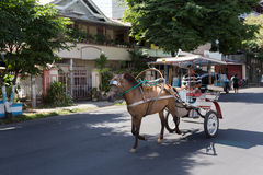 Horse drawn carriage in the streets of Manado Stock Photography