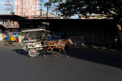 Horse drawn carriage in the streets of Manado Royalty Free Stock Photos