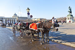 Horse-drawn carriage in the streets of Vienna Stock Photos