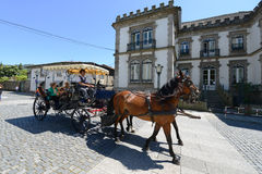Horse drawn carriage tours in Guimarães, Portugal Stock Photography