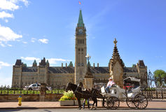 Horse drawn carriage tours in Parliament Building. Ottawa, Ontario, Canada Stock Photography