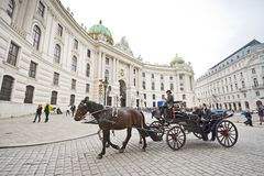 Horse-drawn carriage in Vienna Royalty Free Stock Photos