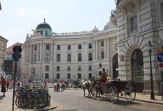 Horse-drawn carriage. Vienna. Hofburg. Austria Royalty Free Stock Photos