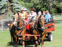 Horse drawn carriage/wagon  with people Stock Image