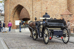 Horse-drawn carriage in Warsaw Royalty Free Stock Photo