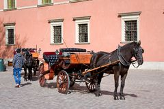 Horse-drawn carriage in Warsaw. Poland Stock Image