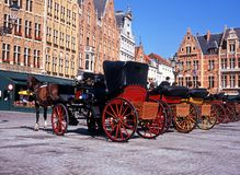 Horse drawn carriages, Bruges. Stock Image