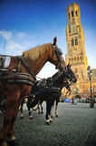 Horse-drawn carriages at Grote Markt in Bruges Royalty Free Stock Photography