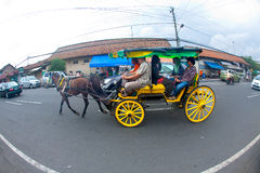 Horse drawn carriages in Jogjakarta, Indonesia. Royalty Free Stock Images