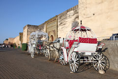 Horse-drawn carriages in Meknes Stock Photo
