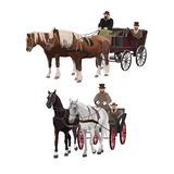 Horse-drawn carriages vector illustration