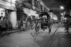 Vigan historic town, illocos sur, philippines, horse and cart street view. Horse drawn carriages in the streets of cristologo vigan are the main method of royalty free stock photography