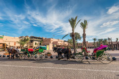 Horse drawn carriages for tourists, Morocco, Africa. Marrakesh, Morocco - December 8, 2016: Horse-drawn carriages waiting for tourists in Marrakesh, Morocco Royalty Free Stock Photos