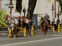 Horse Drawn Carriages with Tourists in Seville, Spain. Seville, Spain - April 2, 2015: Horse drawn carriages taking tourists along street in Seville stock photography