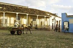 Horse-drawn cart circulating through Trinidad, Cuba stock photography