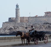 Horse Drawn Cart In Havana Cuba. Horse drawn cart on the Malecon in Havana Cuba Stock Image
