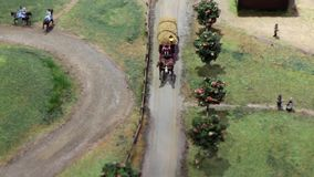 Horse Drawn cart with hay stock footage