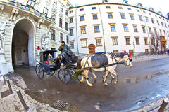 Horse drawn fiaker at the Hofburg Stock Images