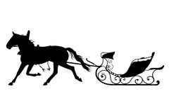 Horse with drawn sled. Silhouette of horse with drawn sled isolate Royalty Free Stock Photo