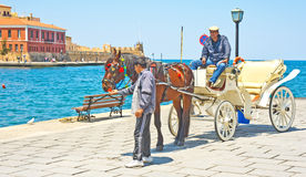 Horse drawn taxi in Chania, Crete. Royalty Free Stock Images