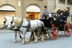 Horse drawn taxi in Florence, Italy Stock Photography
