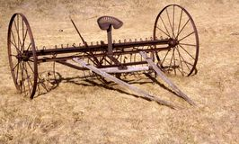 Horse Drawn Tiller. Antique farm implement from the days when a man and horse worked the land Stock Photos
