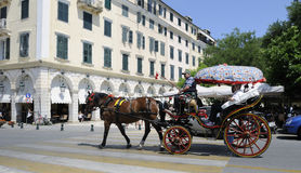 Horse-drawn Wagen in Korfu Stockbild