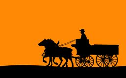 Horse-drawn Wagon, Vector. Vector of a person riding in a horse-drawn wagon Stock Photo