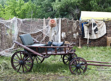 Horse-drawn wagon in the yard of the rural house stock image