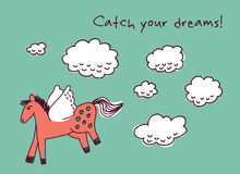 Horse dreams and clouds card Stock Photos