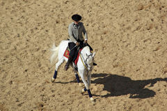 Horse dressage in Córdoba, Spain. A jockey displaying a dressage performance of an Andalusian Horse at a venue in Cordoba, Spain Stock Photo