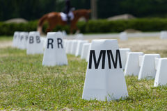 Horse Dressage Rings. And a rider Royalty Free Stock Photos