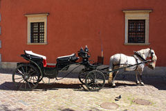 Horse-driven cab in Warsaw stock photo